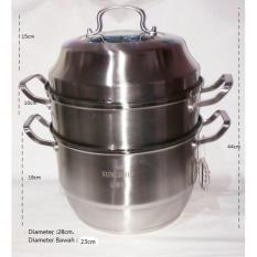Leoshop888 Panci Steamer Pot Stainless steel Tebal / panci Kukus Stainless steel 2Susun - 28Cm