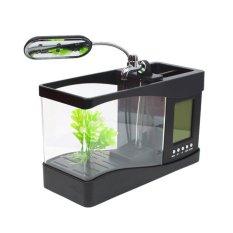 LeTaec Usb Desktop Fish Aquarium Real Fish Tank with Alarm Clock - Hitam