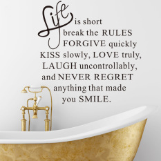 Toko Life Is Short English Words Quotes Pvc Wall Stickers Online Terpercaya