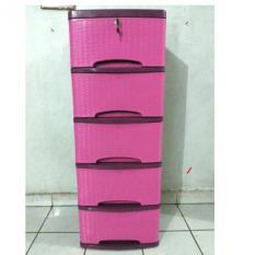 Lily Lemari Pakaian Motif Rotan 5 Susun – Pink