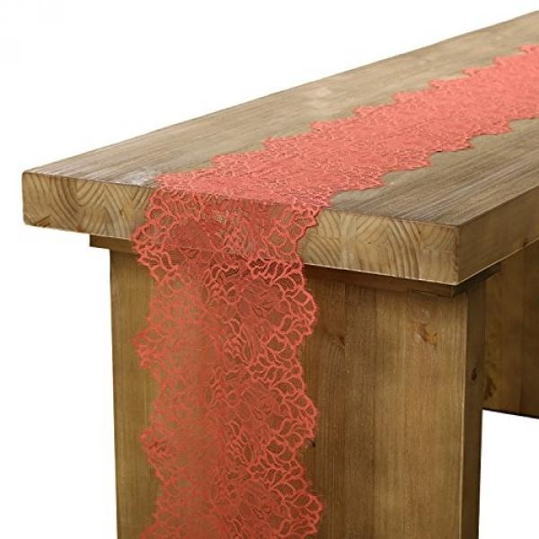 Lings Moment Rose Red Lace Table Runner/Overlay Cantik Spring Garden/Forest Theme Wedding Party Decoration BABY & Dekorasi Kamar Mandi Pengantin 12x120 Inch (Warna Tersedia) -Intl