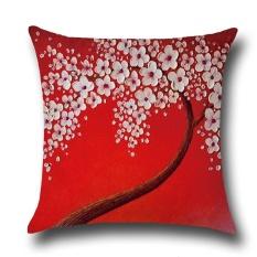 Burung Hidup Oil Painting Tiga Dimensi Pohon dan Bunga Berbentuk Pillow Case Linen Digital Printing Pola Sarung Bantal Warna: Banyak Warna Ukuran: 45*45 Cm-Intl