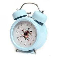 Live Birds ONOR-Tech Blue 3`` Alarm Clock Metal Hammer Twin Bell Desk Table Alarm Clock With Light - intl