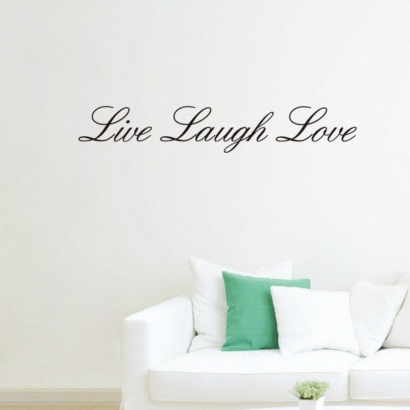 Live Laugh Love Quotes Wall Stiker Kamar Tidur Mural Seni Living Room Wallpaper Vinyl Dekorasi Rumah-Internasional