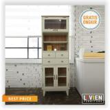 Harga Livien Ivory Kitchen Glass Cabinet Heim Series Lemari Dapur Kabinet Livien Furniture Ori