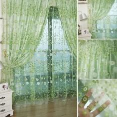 Ruang Tamu Fashion Jersey Rayon Bunga Gorden Kamar Tidur Kain Tulle Tipis Tirai Tirai Hijau Diskon Akhir Tahun