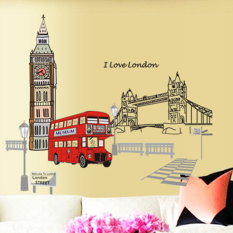 Toko London Bus Building Bridge Road Wall Decal Home Sticker Pvc Murals Paper House Decoration Wallpaper Living Room Bedroom Art Picture For Kids Teen Senior *d*lt Baby Intl Dekat Sini
