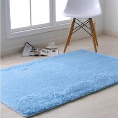 Panjang Plush Anti-Slip Soft Mat untuk Rumah Living Room Kamar Tidur Shaggy Karpet Lantai Masuk Keset Karpet (Biru) 40x60 Cm-Intl