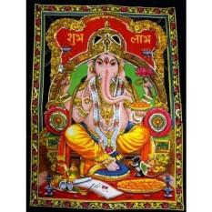 Lord Ganesha Deity Art Sequin Work Indian God Batik Wall Hanging 43