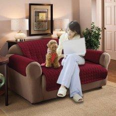 Iklan Loveseat 2 Kursi Quilted Slipcover Furniture Protector Sofa Seat Cover Tahan Air Intl