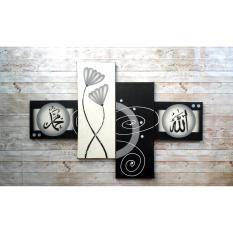 Lukisan Kaligrafi Bunga Hitam Putih-Lukisan Tangan