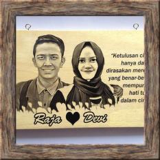 Lukisan Kayu (BAYAR DITEMPAT/COD) Custom Foto Dan Tulisan Kado Hadiah Ulang Tahun Dan Wisuda Unik Keren 10x15 cm (HITAM PUTIH)