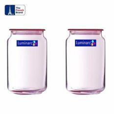 Luminarc Toples Rondo Jar Ice Blue 1Ltr - 2Pcs - Pink