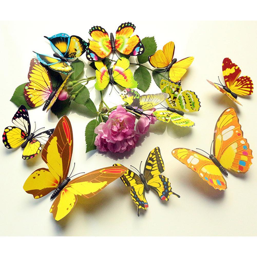 LumiParty 12 Pcs Mensimulasikan 3D Butterfly Wall Sticker dengan Magnet Elegan Colorful Hiasan Dinding Mural untuk Kulkas Komputer TV Backdrop Dinding Ruang Tamu Kamar Tidur Spesifikasi: Colorful