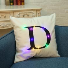 LumiParty 45*45 Cm Creative Nyaman Bahasa Inggris Letter Throw Pillow Case LED Light Luminous Glow Sofa Cushion Cover Tanpa Core Rumah Tempat Tidur Sofa Dekorasi Gaya: Putih D Ukuran: 45*45 Cm