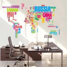 Spesifikasi Lumiparty Kata Kata Bahasa Inggris Peta Dunia Kelas Home Wall Removable Sticker Pvc Seni Dekorasi Stiker Poster Spesifikasi 60 90 Cm Terbaik