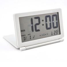 Lumiparty Multifungsi Diam LCD Digital Layar Besar Perjalanan Meja Tulis Jam Alarm Elektronik, tanggal/Waktu/Kalender/Tampilan Suhu, Tunda, Lipat (Putih + Perak) -Intl-intl