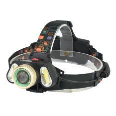 LumiParty Rechargeable 3 LED Jarak Jauh Fokus Tekan Switch Headlamp Headlight Camping Senter dengan Adjustable Headband