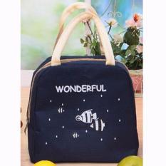 Spesifikasi Lunch Bag Tas Bekal Pembawa Makanan Tas Cooler Bag Tas Pendingin Thermal Insulated Bag Alunimium Foil Navy Terbaik