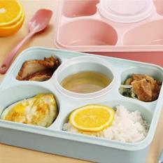 Review Toko Lunch Box Kotak Makan Lunch Box Yooyee Plus Tempat Sup 5 Sekat Bento Blue