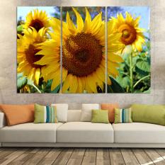 Mewah 3 Panel Lukisan Seni Dekoratif Gambar Rumah Modern Cat Di Atas Kanvas Cetak Lukisan Bunga Matahari Medan Tanpa Bingkai)