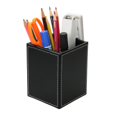 Luxury Faux Leather Desk Tidy Office Desktop Organizer Pen Pencil Stationery Holder Box Name Cards Mobile Phone Remote Controller Storage Rack Container (Black) - intl