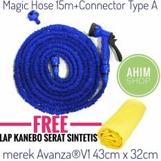 Beli Magic X Hose Auto Expandable 15M 50Ft Selang Elastis Connector Type A Free Lap Kanebo Serat Sintetis Merek Avanza® V1 43Cm X 32Cm Selang Air Fleksibel Biru Nyicil