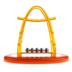 Magideal Newton 'S Cradle Balance Balls Ilmu Fisika Kelas Teka-teki Mainan Meja Laboratorium Pengajaran Aids dengan Dasar Cermin Oranye Middle -Internasional