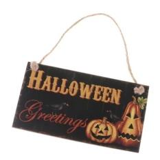 MagiDeal Rustic Halloween Salam Plakat Kayu Labu Halloween Hanging Board-Intl