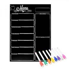 Magnetic Refrigerator Papan Tulis, Menu Mingguan, Perencana Makan, Daftar Belanja Kelontong, Dry Erase Board, untuk Kulkas Dapur dengan 8 Penanda Magnetik Berwarna-Intl