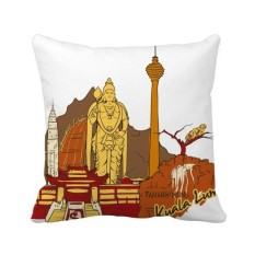 Malaysia Kuala Lumpur Watercolor Square Throw Pillow Insert Cushion Cover Home Sofa Decor Gift - intl