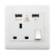 Malaysia UK Soket Dinding USB OGM-UK110 1A Outlet With 3-PinHoleIndicator Light And Switch-Intl