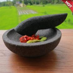 Mandiri Stone - Cobek dan Ulekan Batu Lava Lava Asli Tidak Berpasir 16 cm