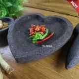 Katalog Mandiri Stone Cobek Dan Ulekan Batu Lava Merapi Motif Love Ukuran 20 Cm Free Cobek Sambal 10 Cm Terbaru