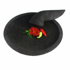 Jual Mandiri Stone Cobek Dan Ulekan Batu Lava Tipe Oval Ukuran 18 Cm Hitam Satu Set