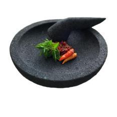 Jual Mandiri Stone Cobek Dan Ulekan Batu Lava Tipe Oval Ukuran 22 Cm Branded