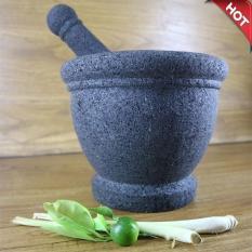 Mandiri Stone - Premium 1 Set Lumpang dan Alu Besar Diameter 18 cm Batu Lava Merapi Grade A (Tidak Berpasir) ASLI