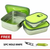 Kualitas Marco Rectangle S S Set 350 680 1100 Ml Food Container Tempat Makan Free Marco Hole Knife Marco