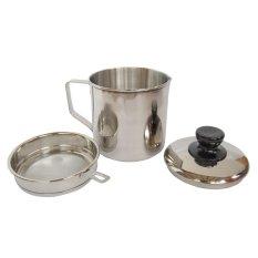 Market Soul Oil Pot Stainless Steel 12cm Saringan Tempat Simpan Minyak Bekas Pakai