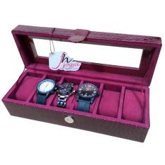 Maroon Croco Watch Box / Tempat Jam / Kotak Jam Tangan Isi 6