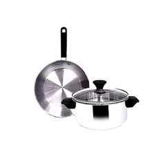 Maspion Panda Set Fit B Dutch Oven dan Frypan Stainless Set - Silver