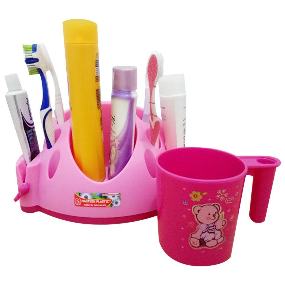 Maspion Tempat sikat gigi dan alat mandi keluarga serbaguna - pink