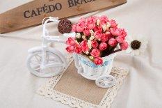 Beli Mawar Vas Bunga Rotan Buatan Rumah Dekorasi Merah Muda Yang Mendalam Baru