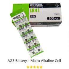 Maxell Battery Alkaline Baterai Kancing Lithium AG3 G3 SR41 (1.55V) Untuk Kalkulator, Jam, Kamera, PDA - Isi 10 Pcs