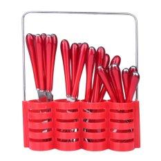Harga Maxi Sendok Cutlery Set 24Pcs Red Lengkap