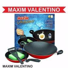 Maxim Wajan Valentino Set - Teflon - Merah-Hitam
