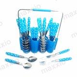 Cuci Gudang Maxxio Sendok Garpu Cutlery 24 Pcs With Rack Set Biru