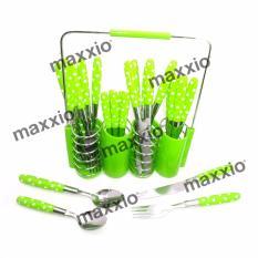 Beli Maxxio Sendok Garpu Cutlery 24 Pcs With Rack Set Hijau Pakai Kartu Kredit