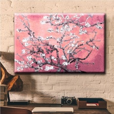 May_zz Almond Bunga Peachy Pink Modern Lukisan Cat Minyak Di HD Printpainting Dinding Seni Hang Hor Dekorasi Rumah Kamar Tidur 90X60 Cm (Noframe) -Intl