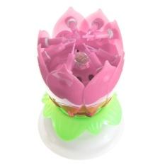 May_zz Double Lilin Bunga Lotus Musik Berputar Selamat Ulang Tahun Partygift Lampu Berwarna Merah Muda-